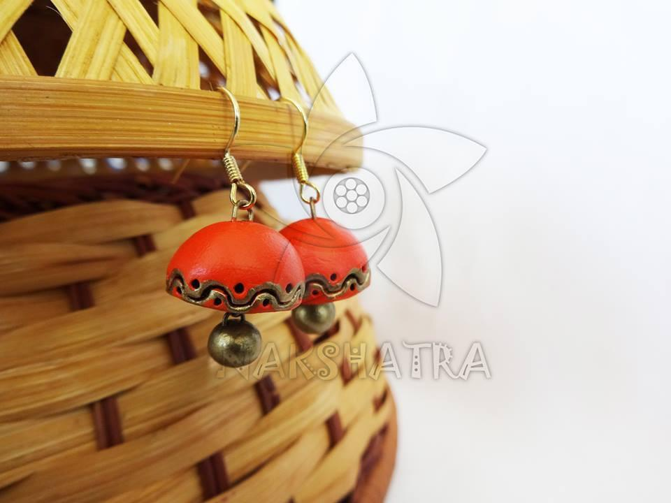 Orange And Gold Color Terracotta Jhumka By Nakshatra