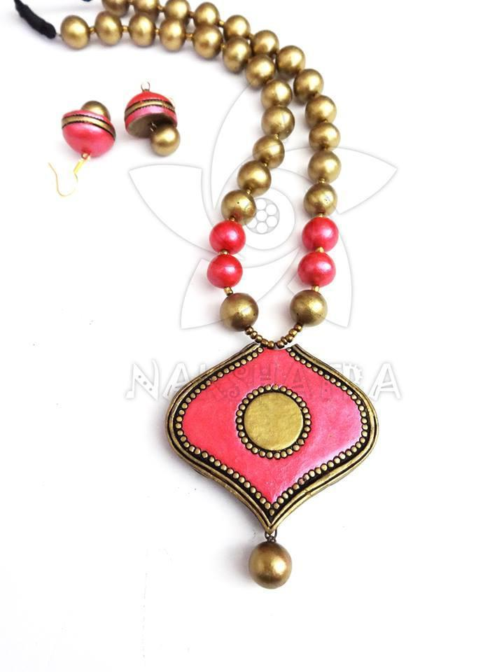 Pink And Gold Terracotta Necklace Set By Nakshatra