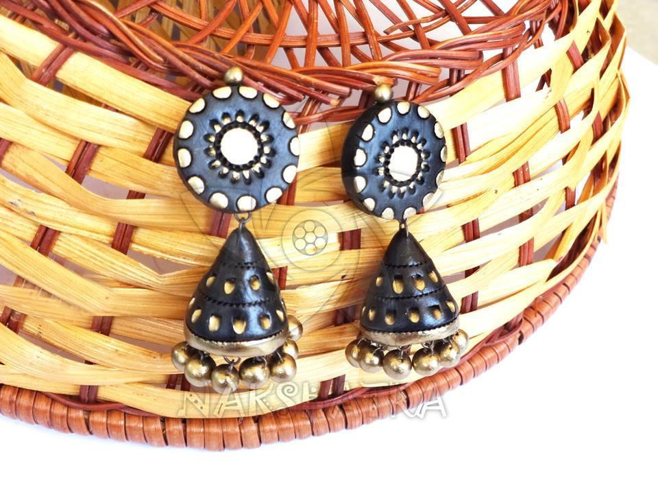 Black And Gold Color Terracotta Jhumka By Nakshatra