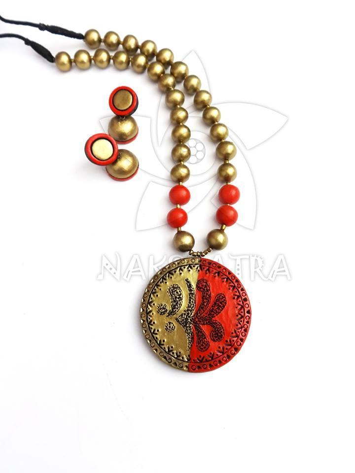 Orange & Golden Colour Terracotta Necklace Set