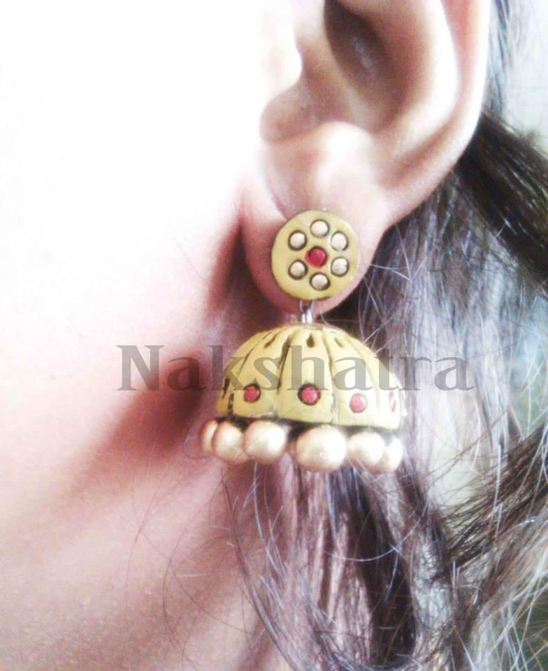 Yellow Terracotta Jhumka By Nakshatra