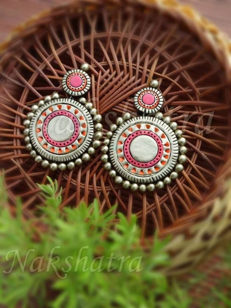 Gold And Pink Color Terracotta Dangler Earring By Nakshatra