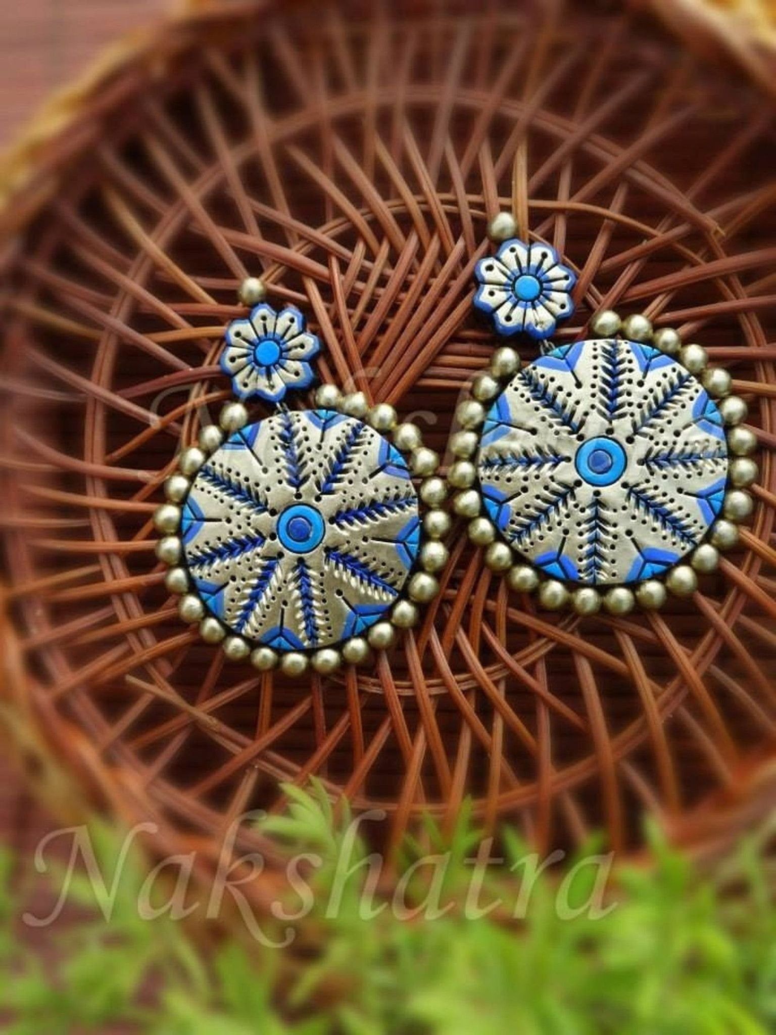 Blue And Golden Terracotta Earring By Nakshatra