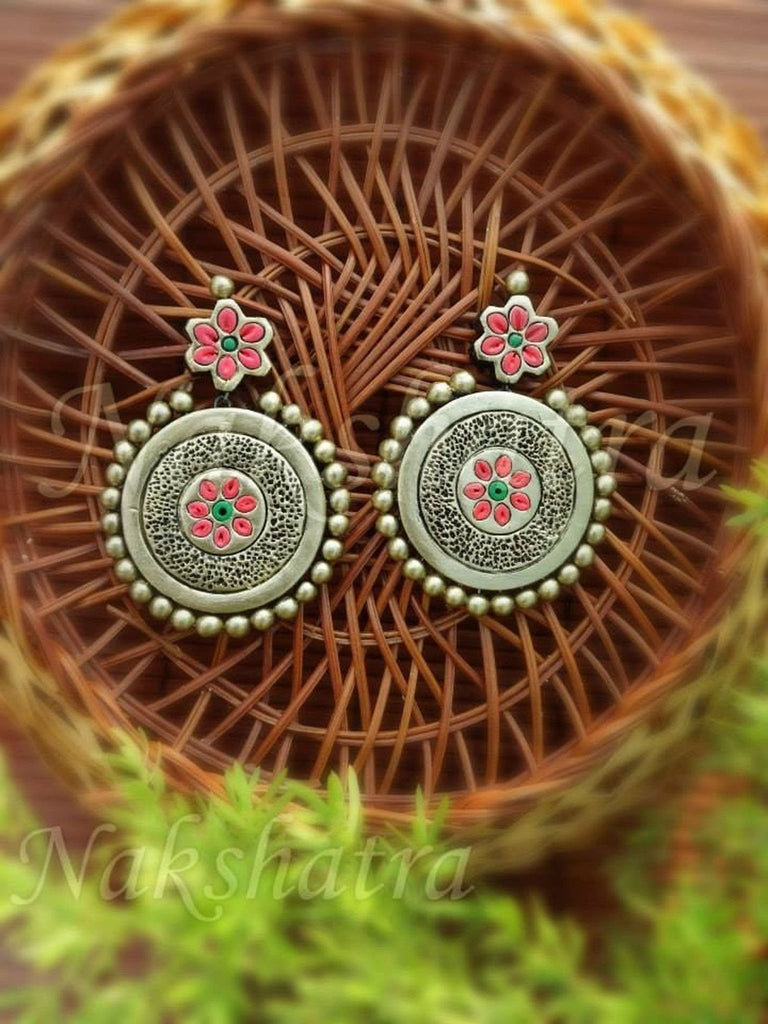 Terracotta Earring In Antique Gold, Pink With Flower Design