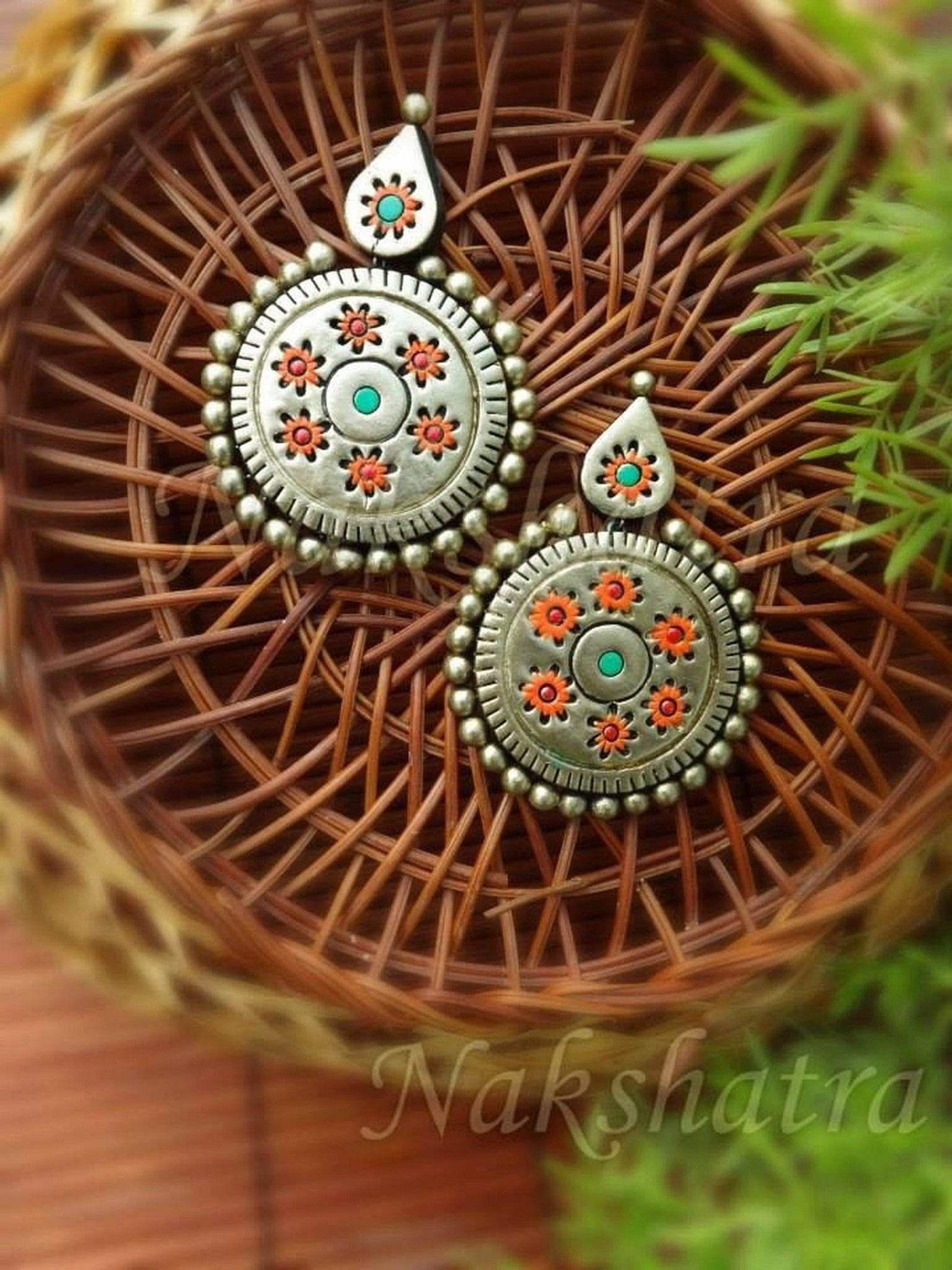 Multi-Colored Antique Gold Terracotta Earrings
