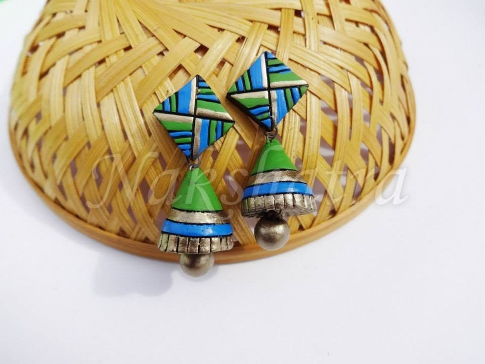Blue And Green Antique Terracotta Jhumkas By Nakshatra