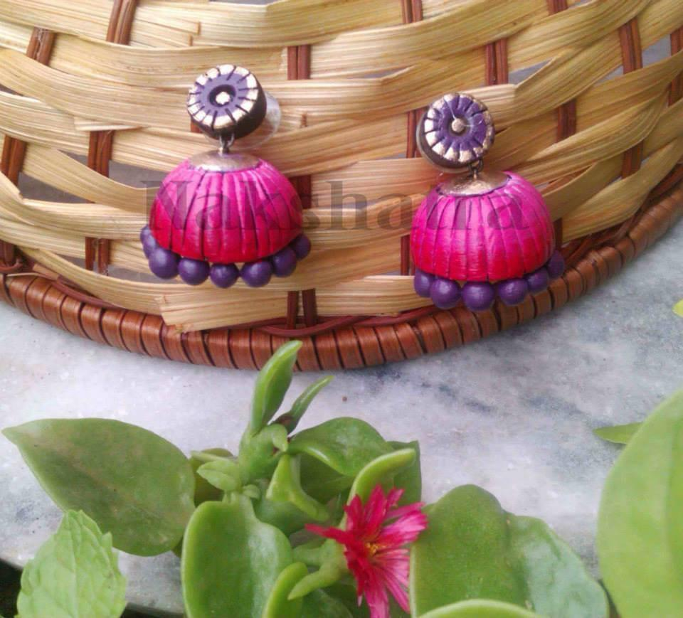Pink And Purple Terracotta Jhumka By Nakshatra