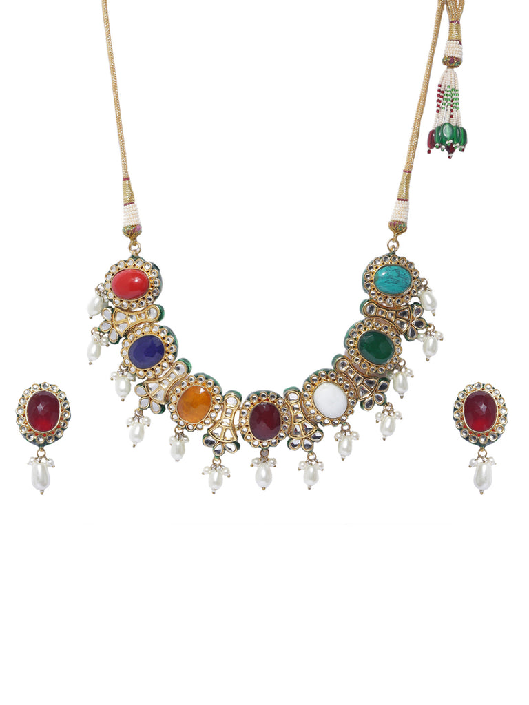 High Quality Gold Plated Navratna Set-ARADHYAA JEWEL ARTS1-Necklace Set