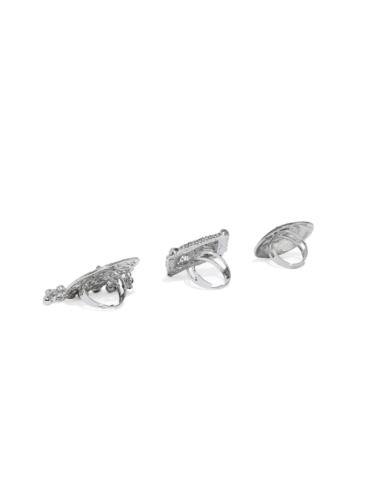 Combo Of 3 Antique Silver Tone Finely Detailed Finger Rings