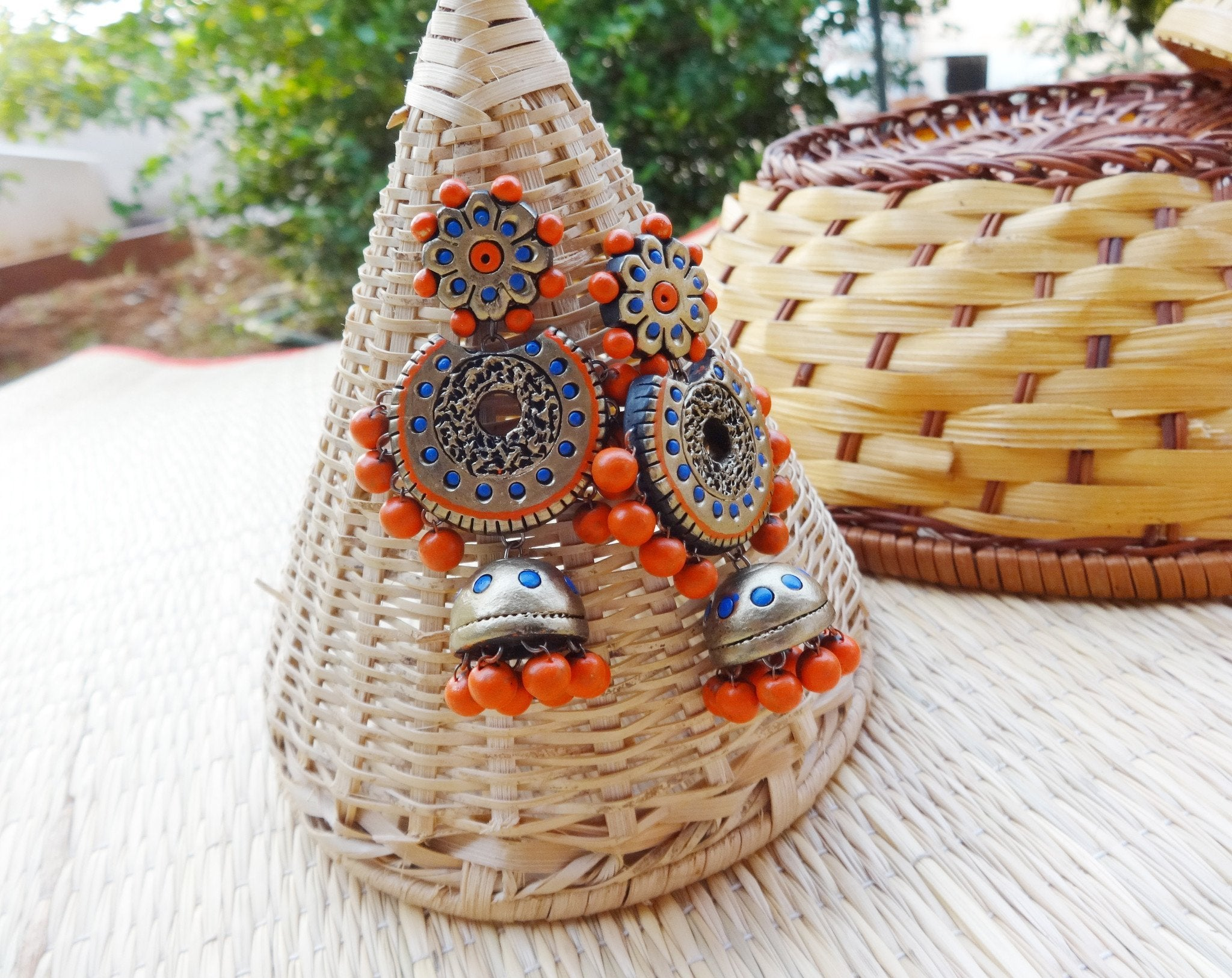 Antique Gold & Orange Terracotta Jhumka By Nakshatra