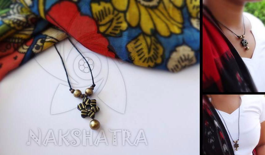 Black And Gold Terracotta Necklace