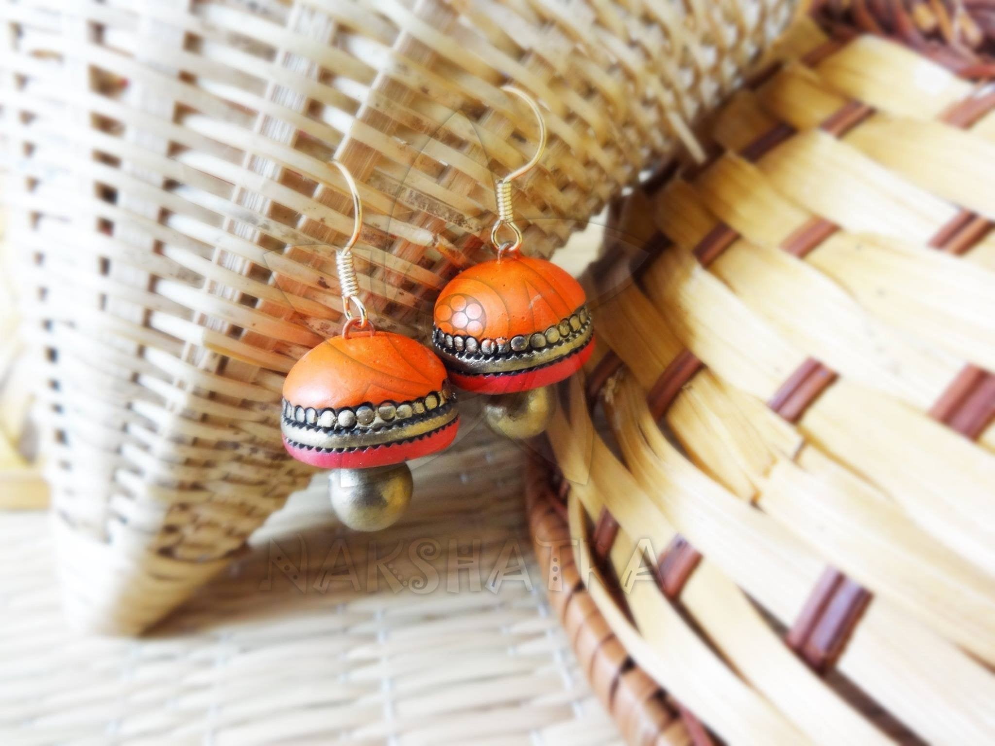 Orange Colour Terracotta Stud Earring