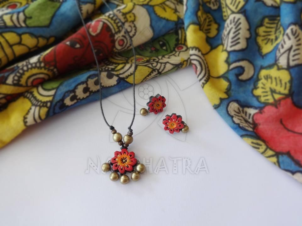 Red And Gold Terracotta Necklace