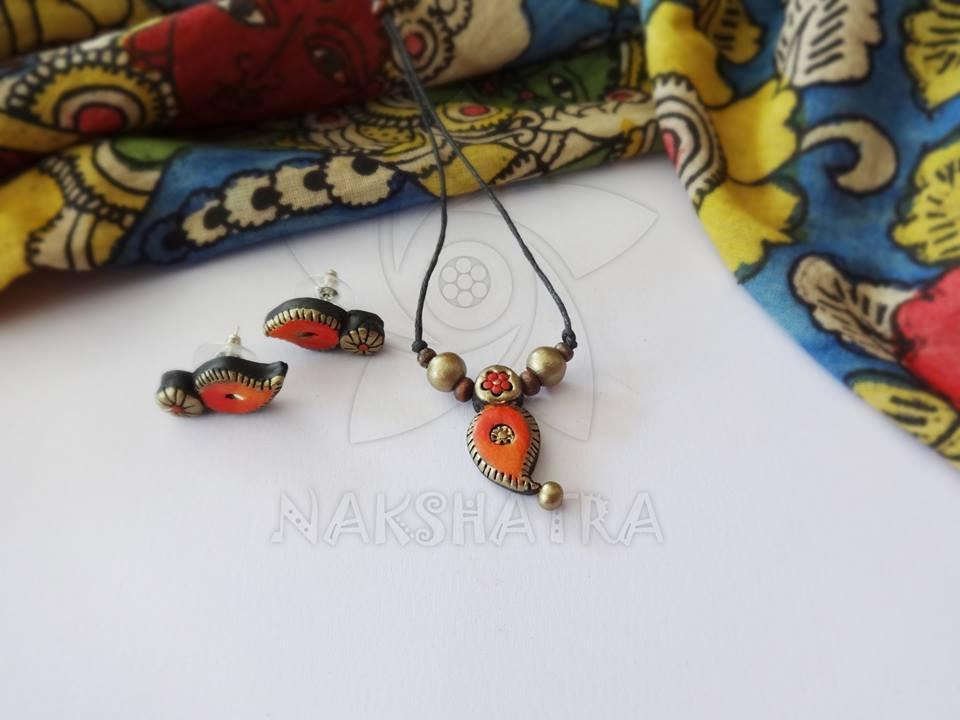 Orange And Gold Terracotta Necklace