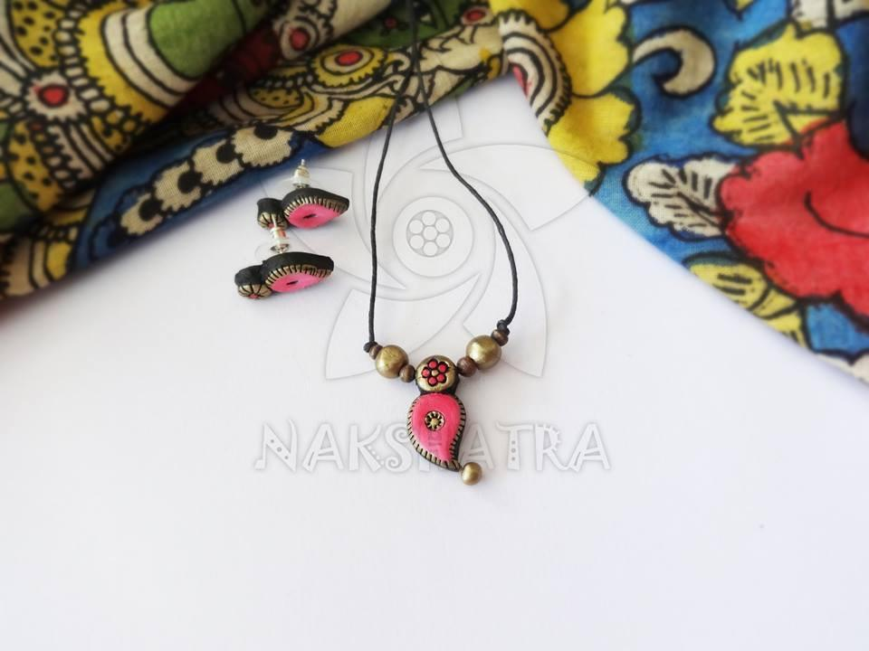 Pink And Gold Terracotta Necklace