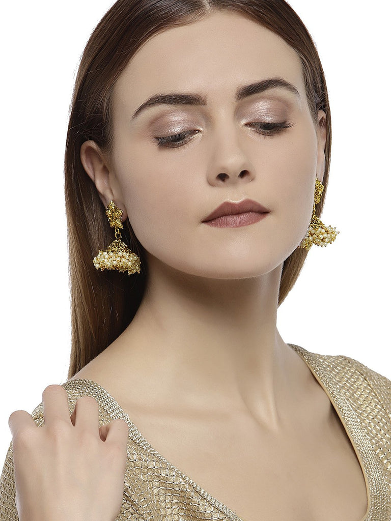Antique Gold Tone Traditional Jhumka Earring