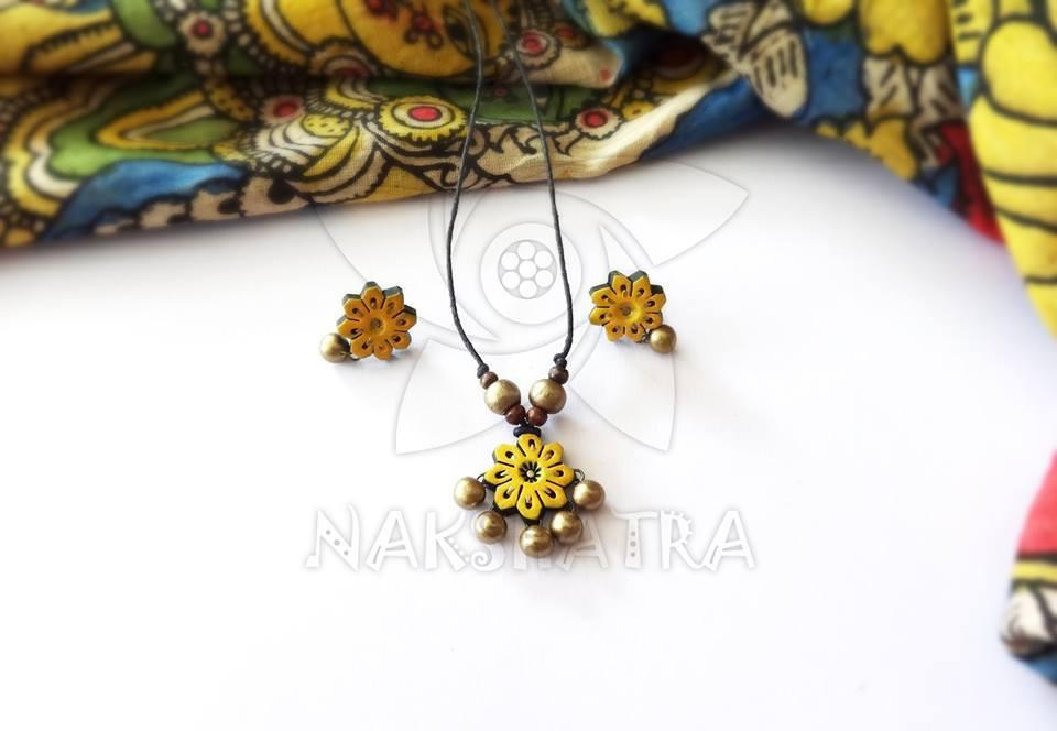 Yellow And Gold Terracotta Necklace