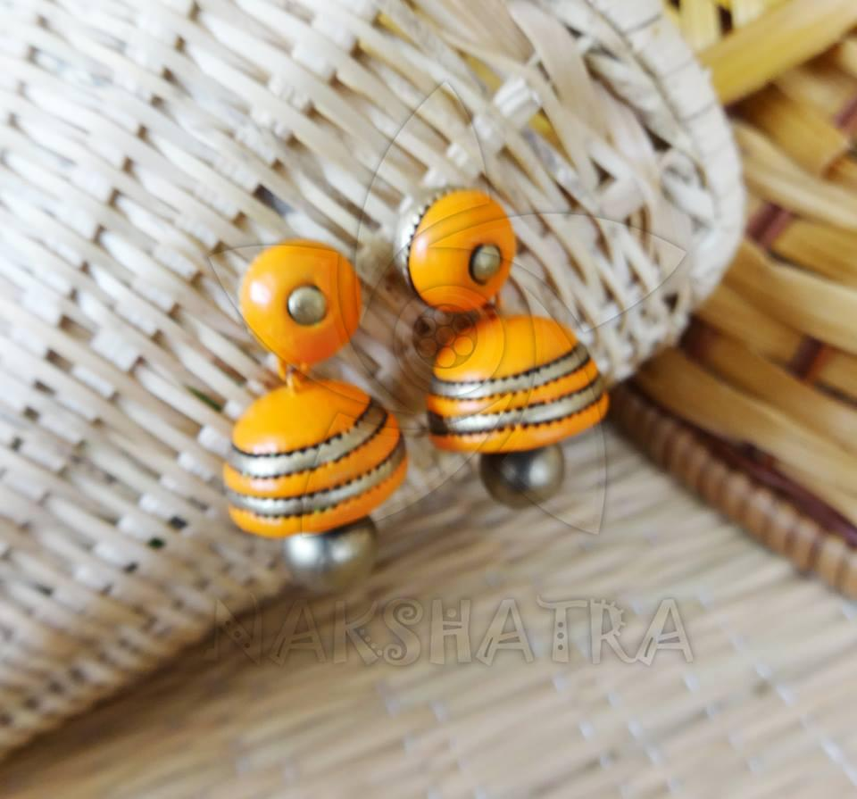 Orange Terracotta Jhumka By Nakshatra