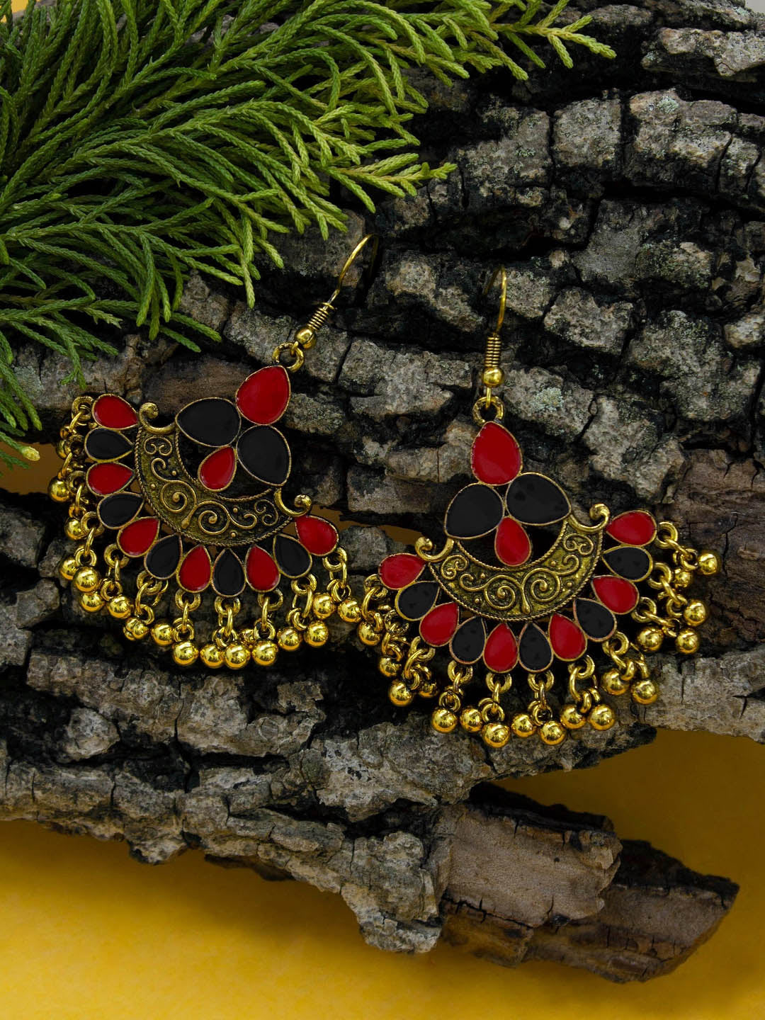 Aana Gold Plating Red And Blue Color Floral Design Afghani Earring-AANA-Earring