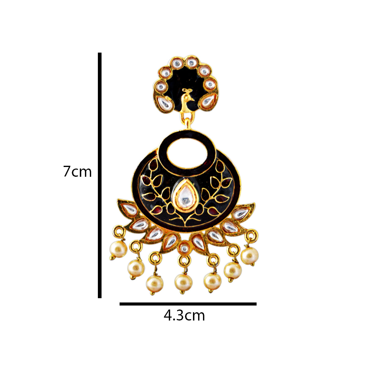 Maroon And Black Color Peacock Design With Kundan Stone Meenakari Dangler Earring-MK JEWELLERS1-Earring