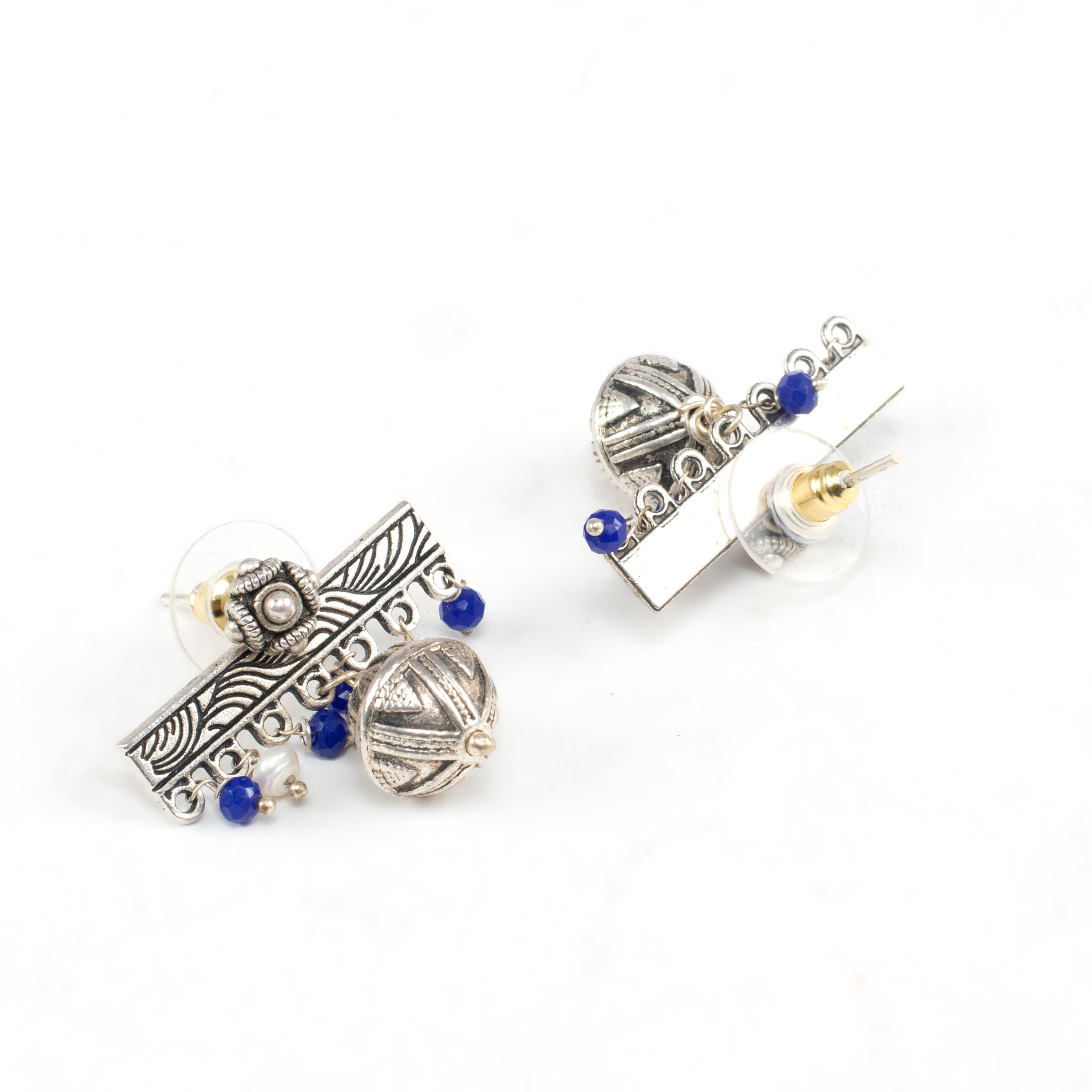 Silver Plated Rectangle Design Hanging Blue Color Pearl Drop Earring-ANETRA-Earring