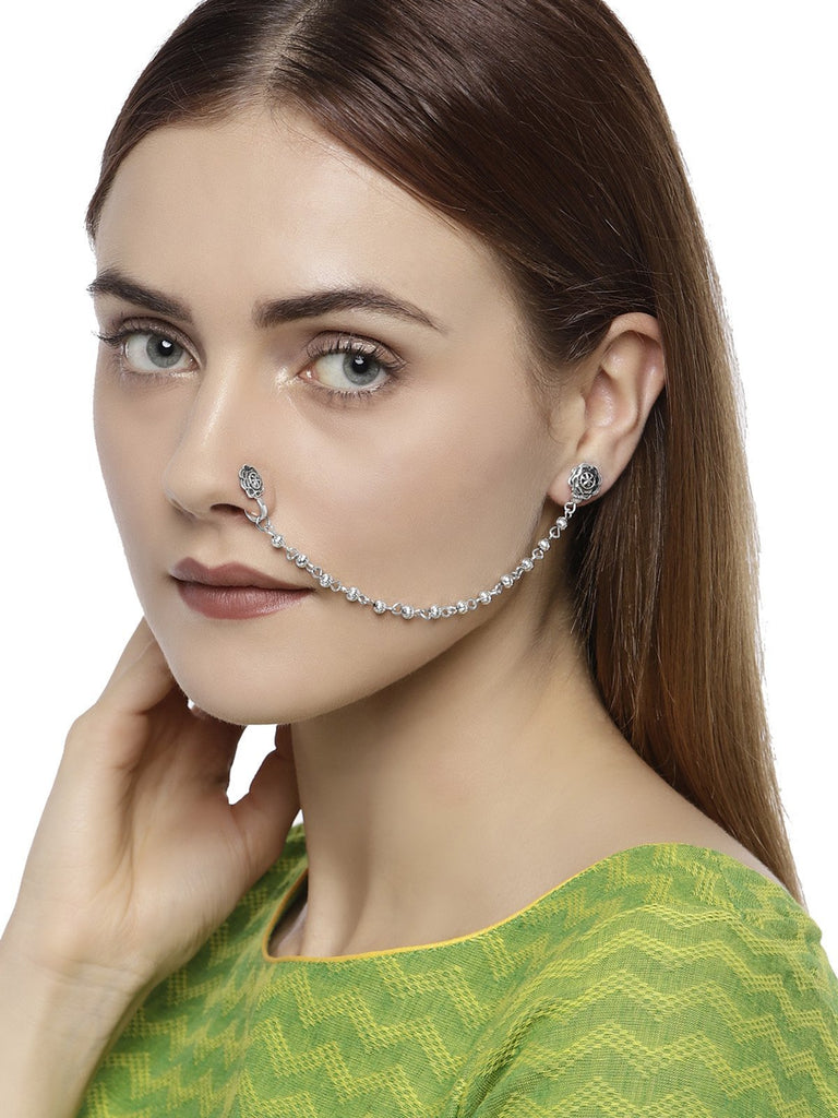 Silver Tone Clip On Nose Pin Chain Linked With Stud Earring