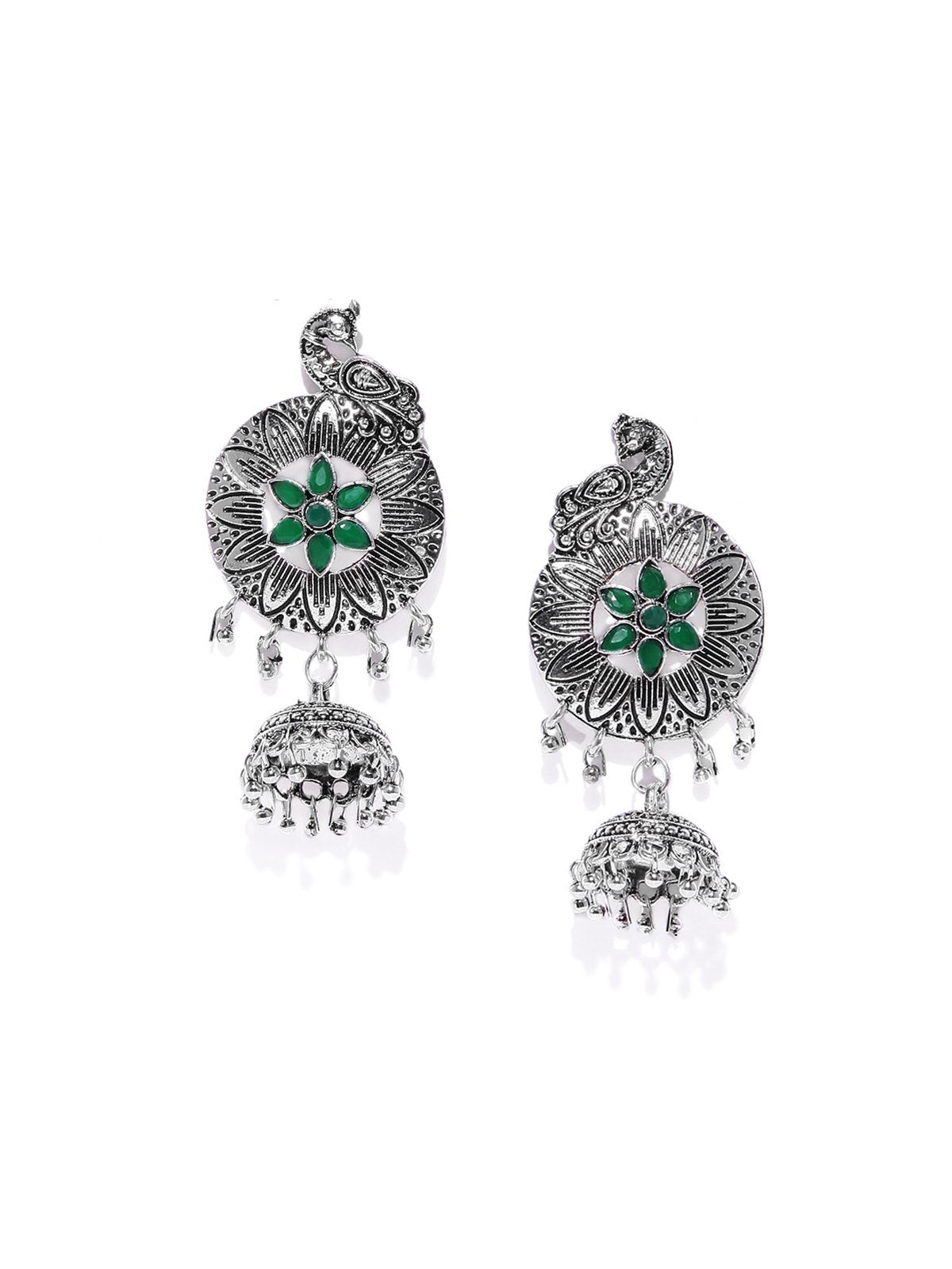 Antique Silver Tone Peacock Inspired Jhumka Earring