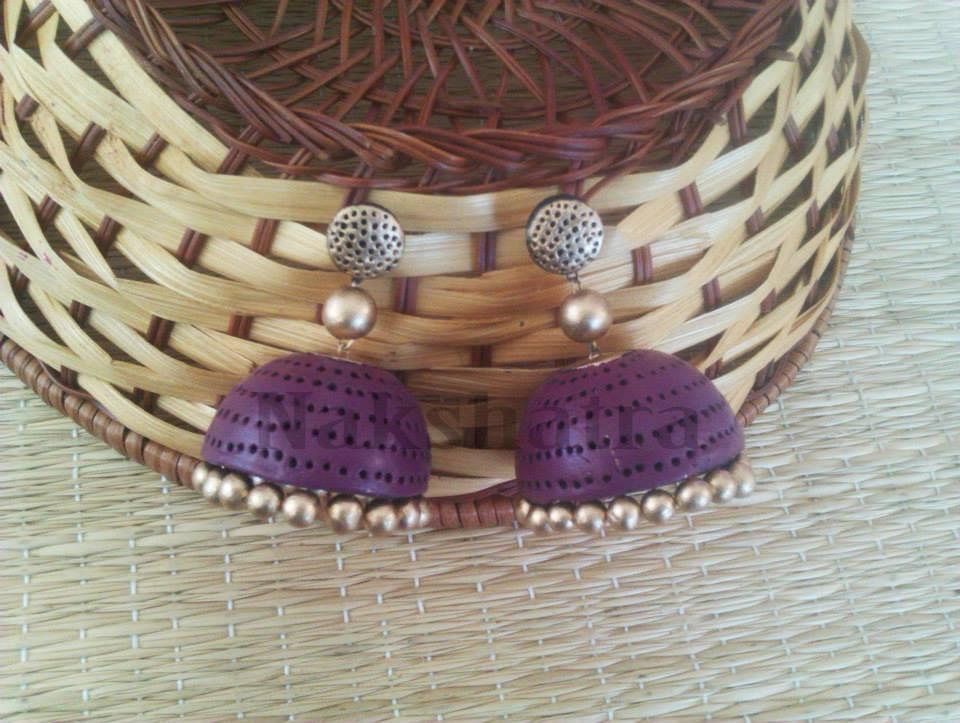 Purple And Gold Terracotta Jhumka By Nakshatra
