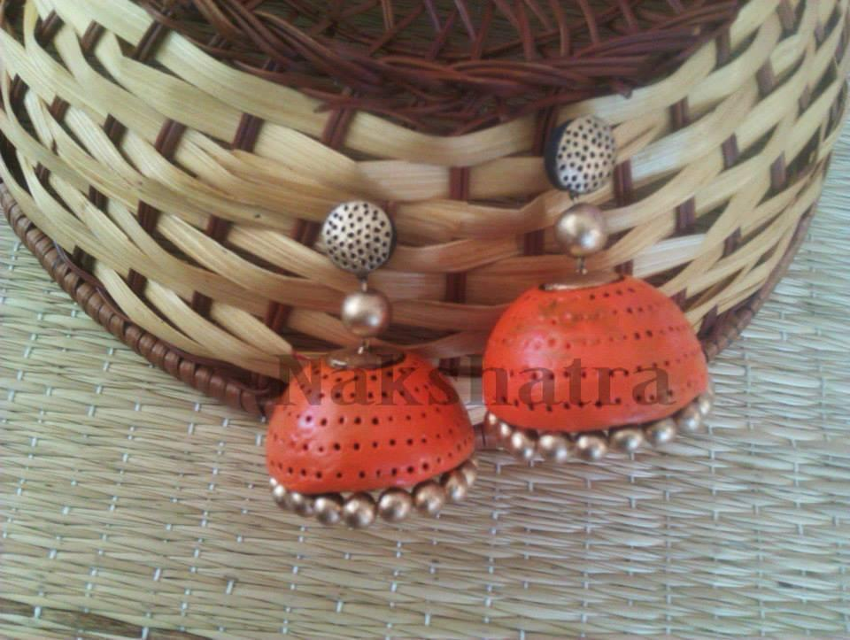Orange And Gold Terracotta Jhumka By Nakshatra