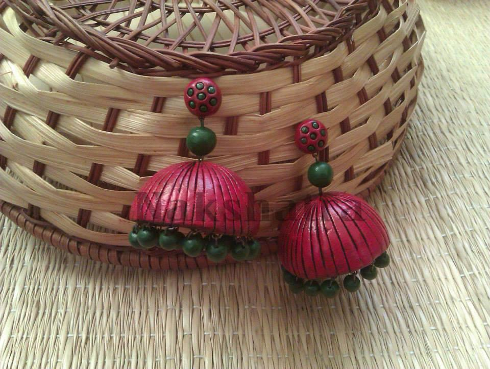 Pink And Green Terracotta Jhumka By Nakshatra