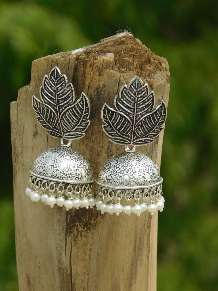 Leaf Design Stud Jhumka Earring