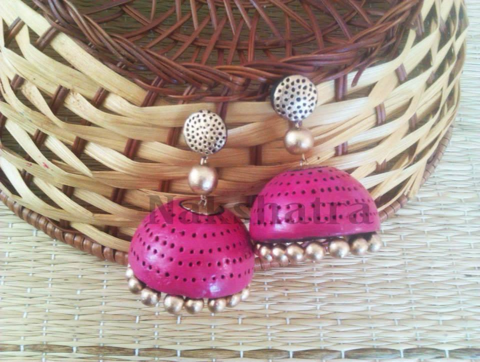 Pink And Gold Terracotta Jhumka By Nakshatra