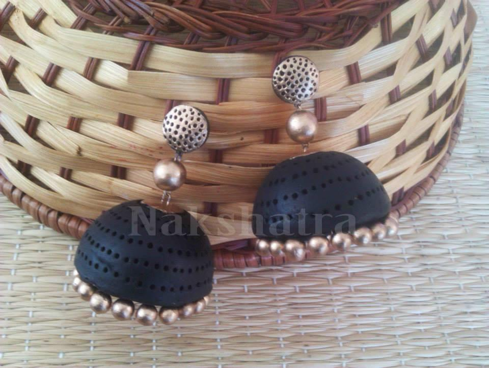Black And Gold Terracotta Jhumka By Nakshatra