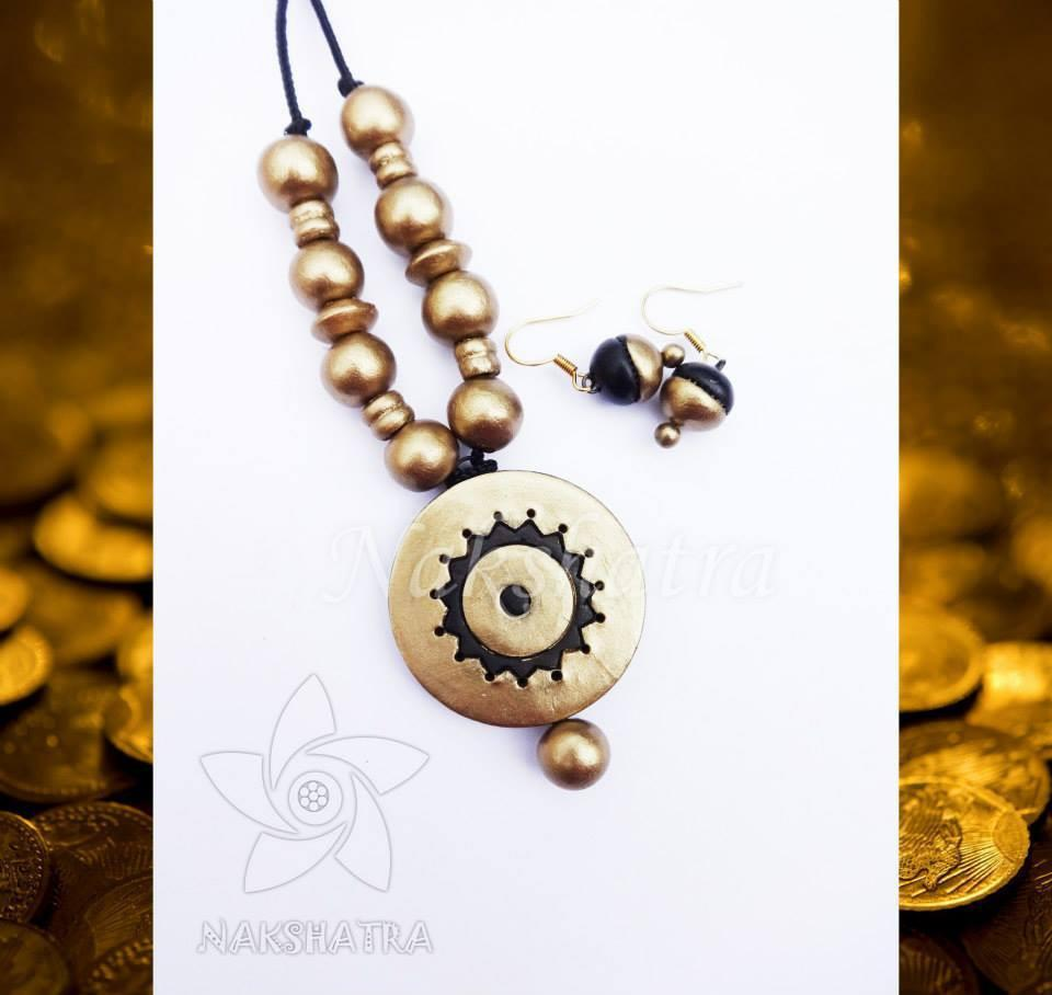 Gold Color Terracotta Necklace Set By Nakshatra