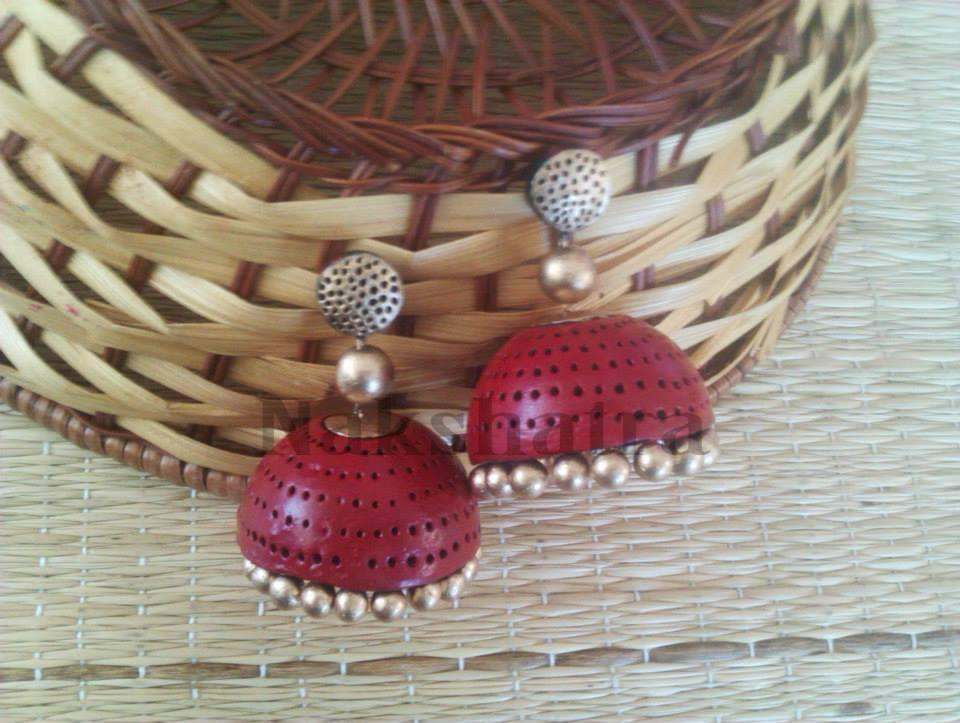 Red And Gold Terracotta Jhumka By Nakshatra