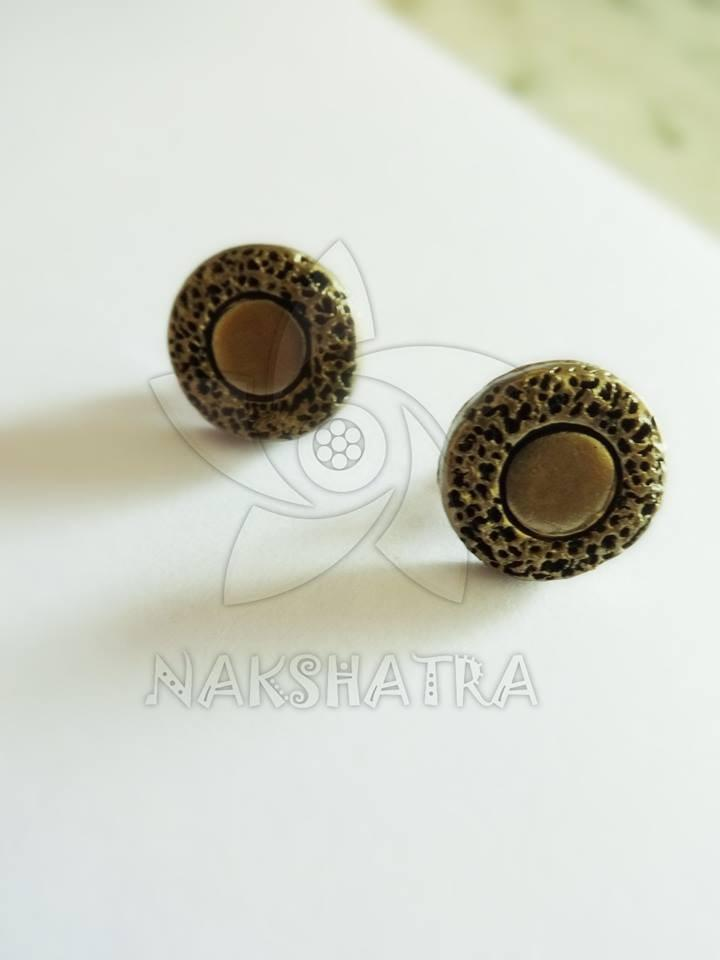 Gold Colour Terracotta Stud Earring