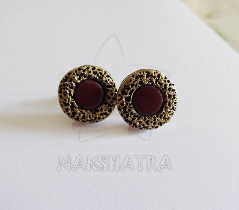 Gold & Brown Colour Terracotta Stud Earring