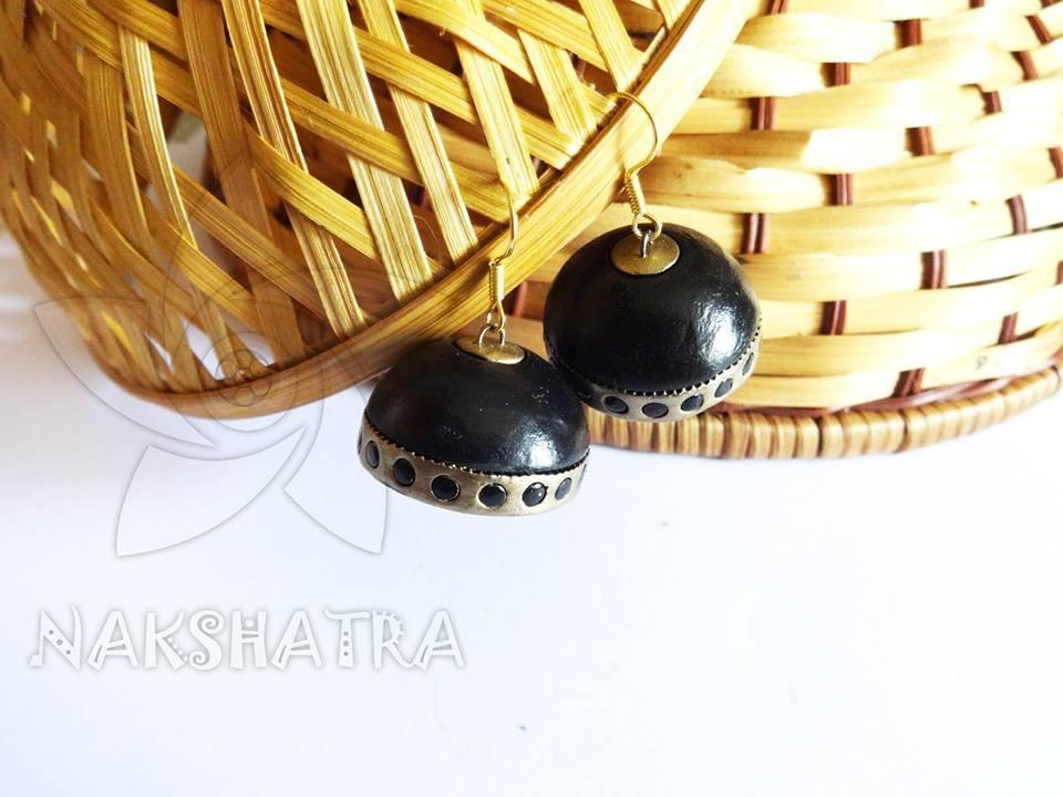 Black And Gold Colour Terracotta Earring