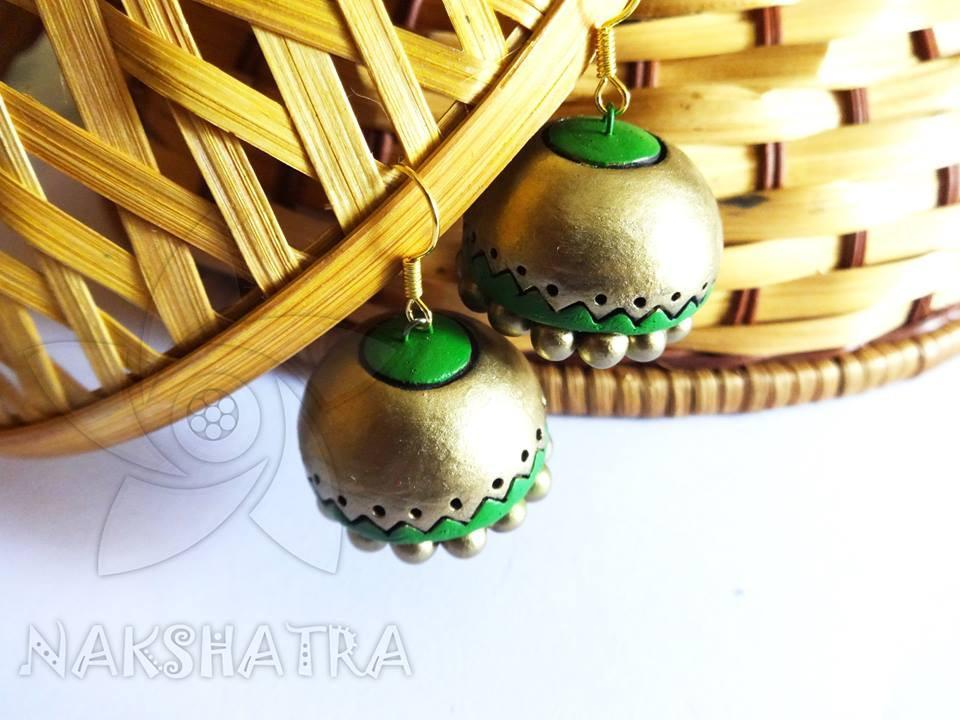 Green And Golden Colour Terracotta Earring