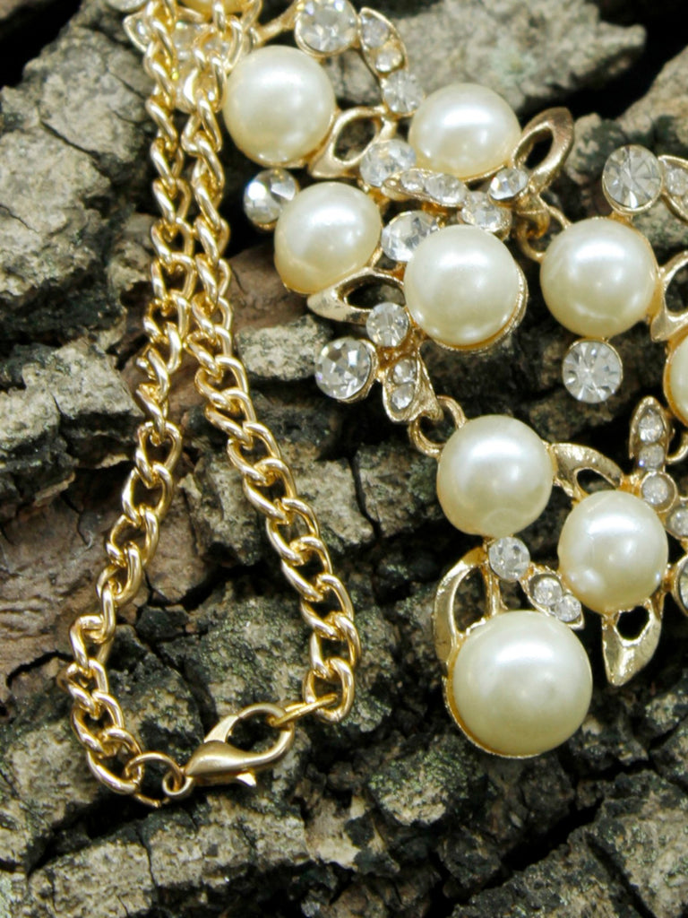 Gold Plated V Shaped Pearl and Stone Studded Necklace-AVISMAYA1-Necklace