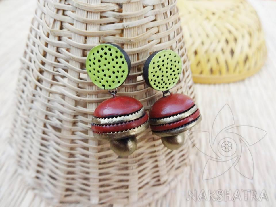 Brown And Green Colour Terracotta Earring