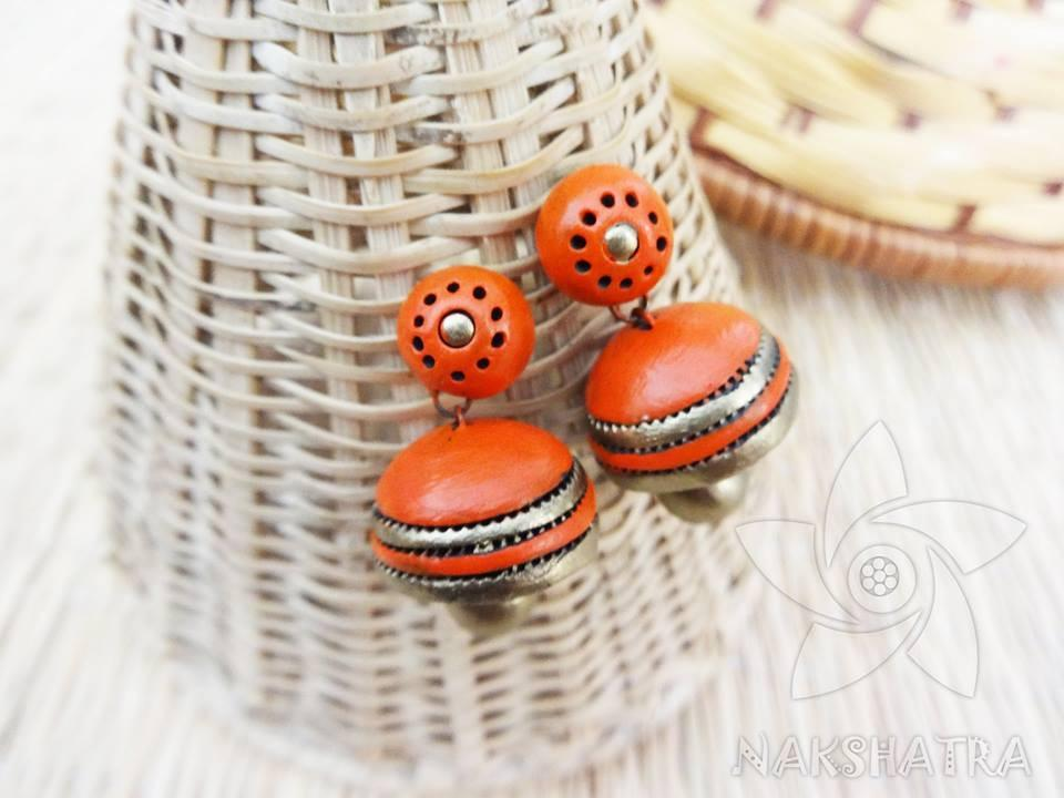 Orange And Gold Colour Terracotta Earring