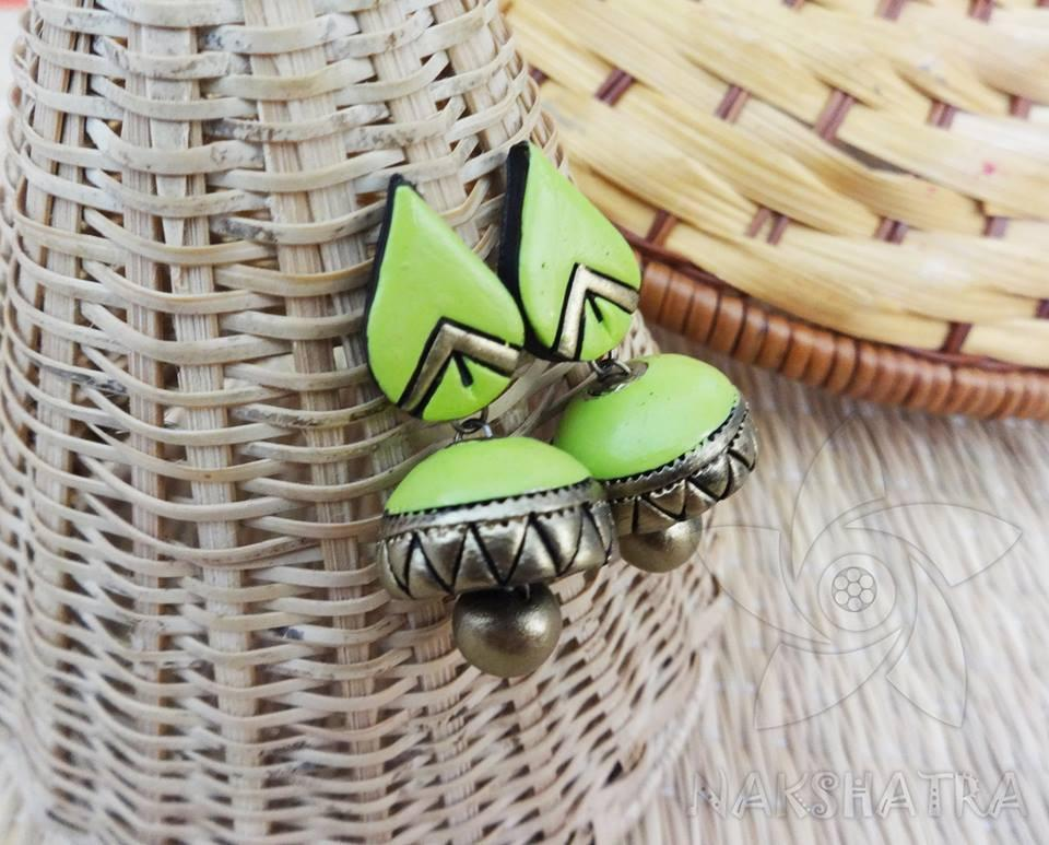Light Green And Gold Colour Terracotta Earring