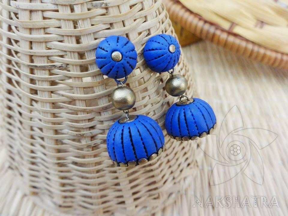 Blue And Golden Colour Terracotta Earring