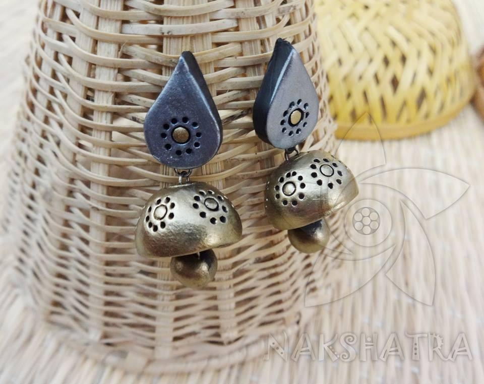 Silver And Gold Colour Terracotta Earring