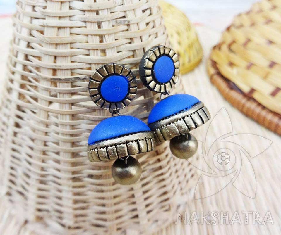Blue And Gold Colour Terracotta Earring