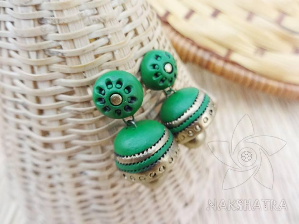 Green And Gold Colour Terracotta Earring