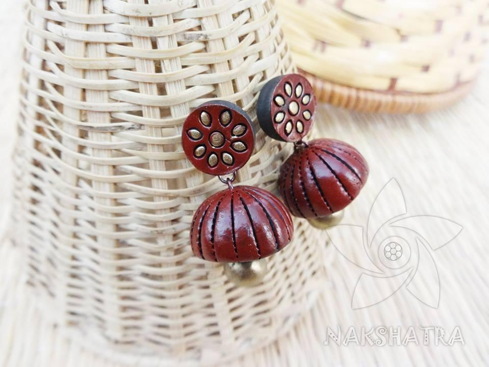 Brown And Gold Colour Terracotta Earring