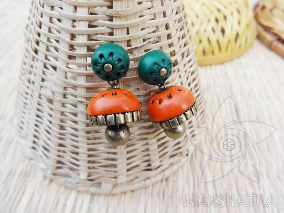 Green And Orange Colour Terracotta Earring