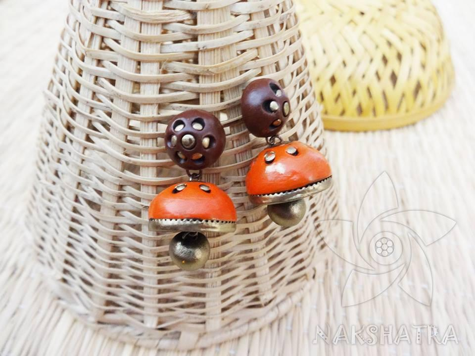 Brown And Orange Colour Terracotta Earring